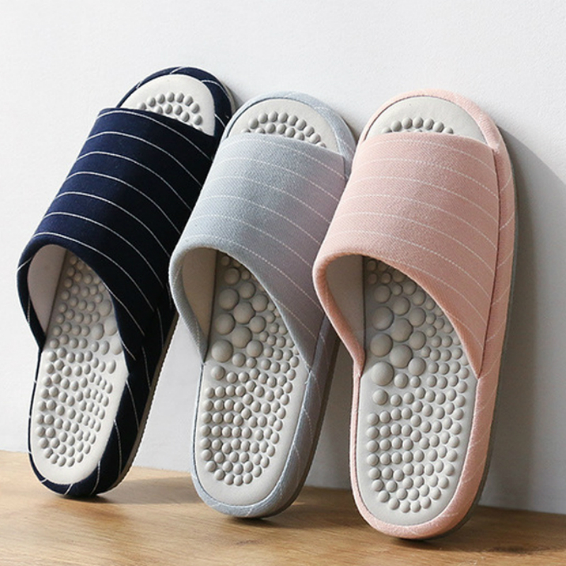 Women Massage Slippers New Men's Striped Foot Health Care Massage Slides Hotel Floor Portable Sandals Top Quality House Shoe