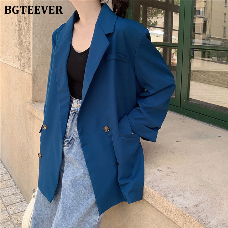 BGTEEVER Stylish Loose Double-breasted Women Blazer Jacket Notched Collar Female Suit Jacket OL Style Blaser Feminino 2019