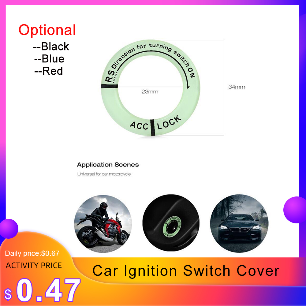 Car Glow Luminous Car Ignition Switch Cover Auto Accessories Car Stickers Circle Light Decoration Motorcycle Decal