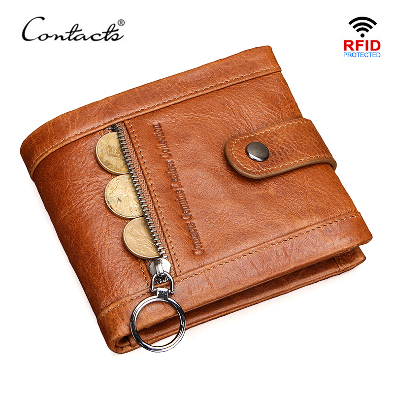 CONTACT'S 100% Genuine Leather Wallet Men Multifunctional Coin Purse Hasp Small Money Bag Male Card Holder Wallets High Quality