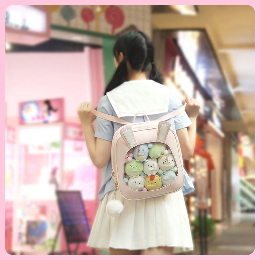 Cute Clear Mini Women Backpacks Kawaii Rabbit Ears Ita Bookbags Transparent Small Womens Travel Girls Back Pack