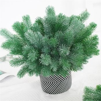 16 Fork Pine Needle Branches Artificial Pine Fake Flowers Plants Christmas Tree Wedding Decor DIY Handcraft Children Gift 1