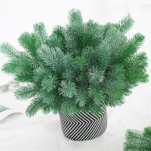 16 Fork Pine Needle Branches Artificial Pine Fake Flowers Plants Christmas Tree Wedding Decor DIY Handcraft Children Gift 1