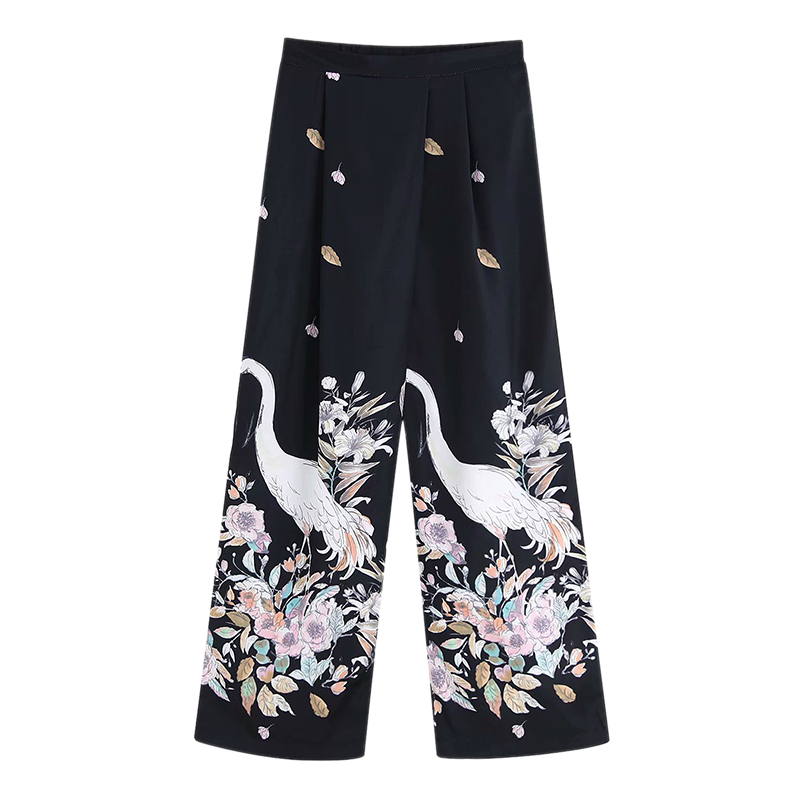Women Vintage Crane Print   Wide     Leg     Pants   Zipper Fly Casual Style Elegent Female Pleated Loose Wear Trousers FFZKZ61