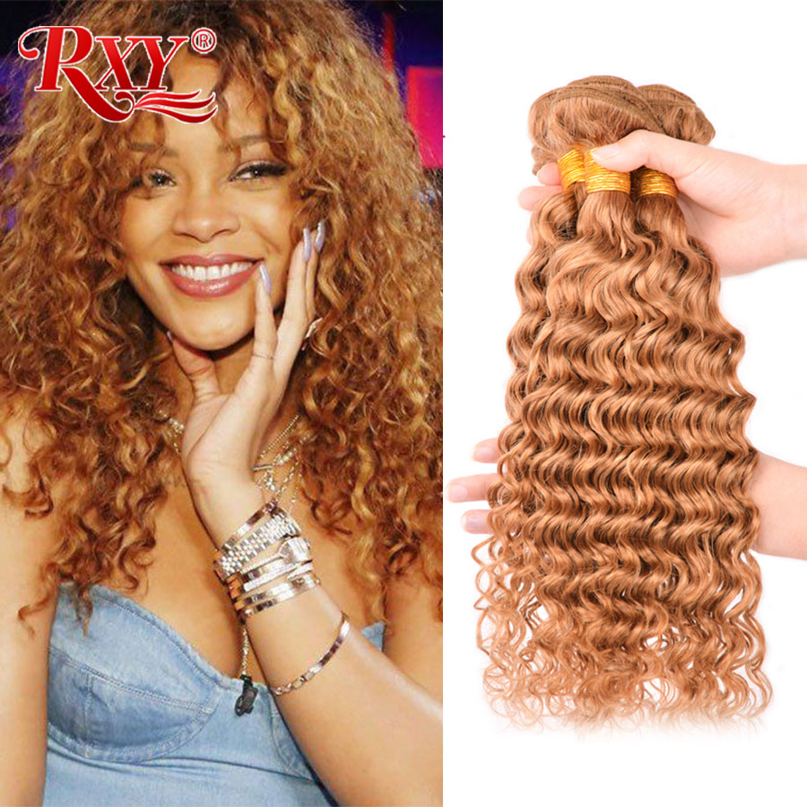 RXY Blonde Bundles #27 Color Deep Wave Bundles 10-28 Inches Brazilian Hair Weave Bundles Remy Human Hair Bundles 1/3/4 Piece