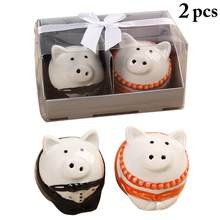 2pcs Seasoning Bottle Set Ceramic Lovely Pig Spice Salt Pepper Shakers Kitchen Tools for Wedding Party Favor(China)
