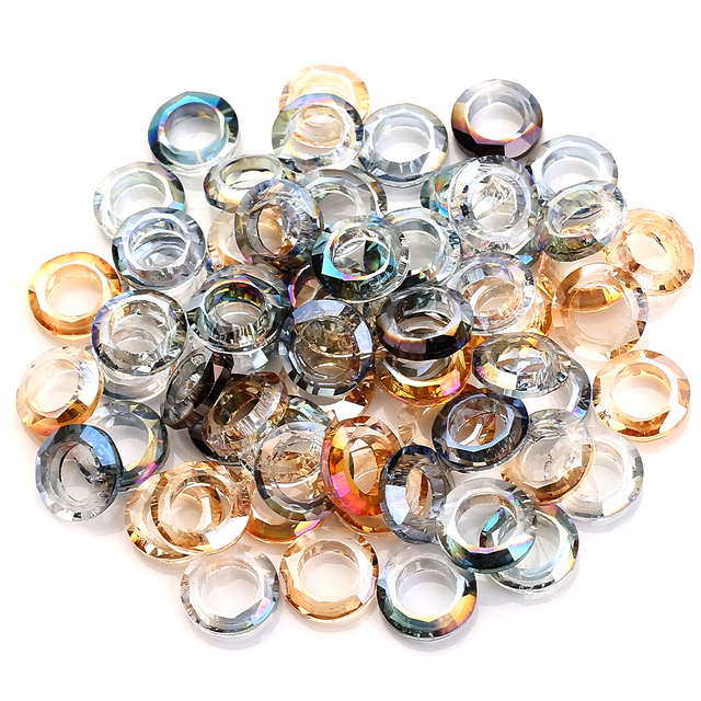 Wholesale Large Hole Bead Spacer 6/8/10/14mm Big Hole Crystal Glass Round Beads For Jewelry DIY Making Needlework Accessories 1