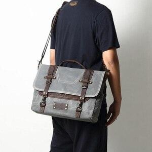 Вощеные холщовые сумки-мессенджеры, водонепроницаемые холщовые Кожаные мужские сумки-тоут, винтажные сумки для ноутбука, большие холщовые ...