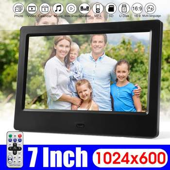 7 дюймов Экран цифровые фоторамки HD светодиодный Подсветка 1024*600 полный Функция фото музыка видео фильм электронный альбом подарок