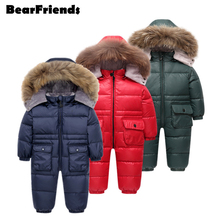 Clothing Jumpsuit Parka Down-Jacket Girl Coat Real-Fur Baby Winter Children's New