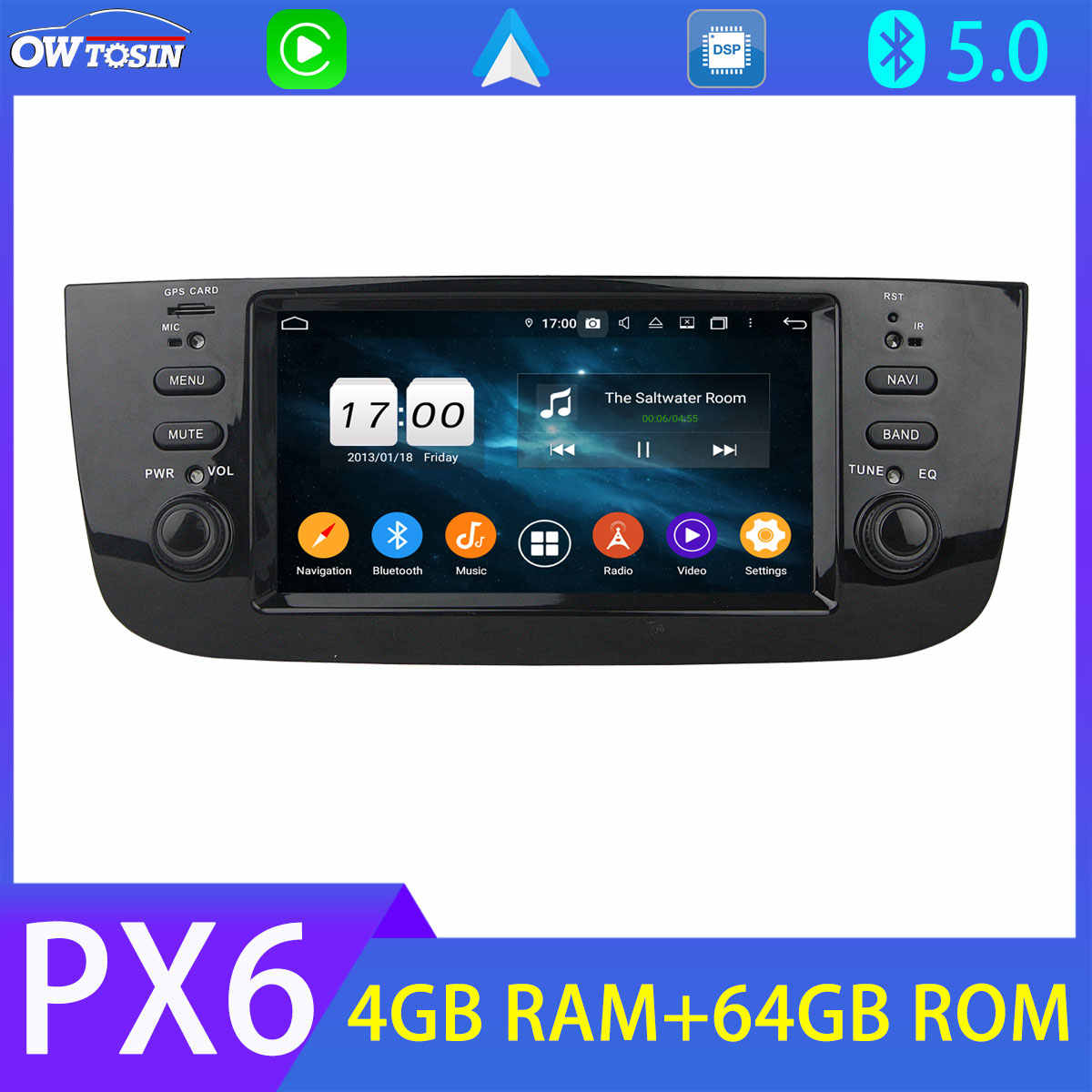 PX6 4 + 64G Bluetooth 5.0 Tethering Mobil Multimedia Player untuk LINEA Fiat Punto EVO Carplay SIM 4G LTE GPS Navi Android Auto Stereo