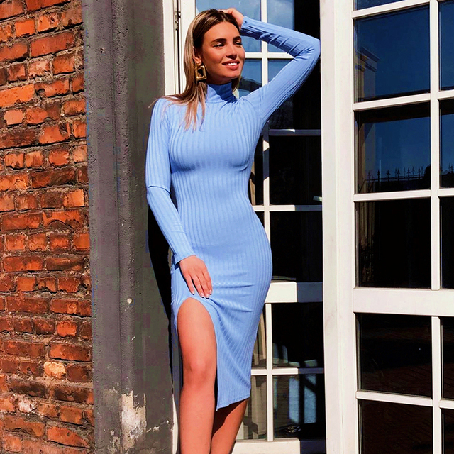 WannaThis Sexy Knee-Length Party Dresses Cotton Ribbed Knitted Turtleneck Solid Split Long Sleeve Autumn Mock Neck Elegant Dress 2