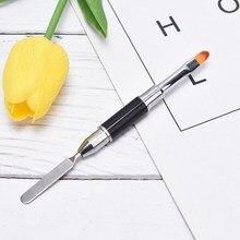 2-em-1 double-end dupla-use prego ferramenta caneta poli prego gel escova e picker de aço inoxidável gel cor barra flor escova