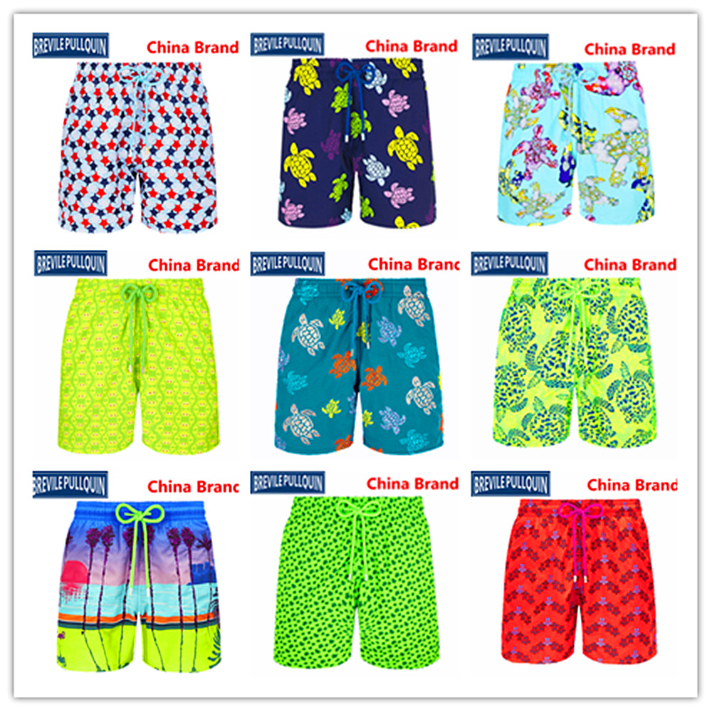 2020 Bermuda Beach Brand Brevile Pullquin Turtles Boardshorts Men Swimwear Adults Crabs Watercolor Bathing Shorts 100% Quick Dry