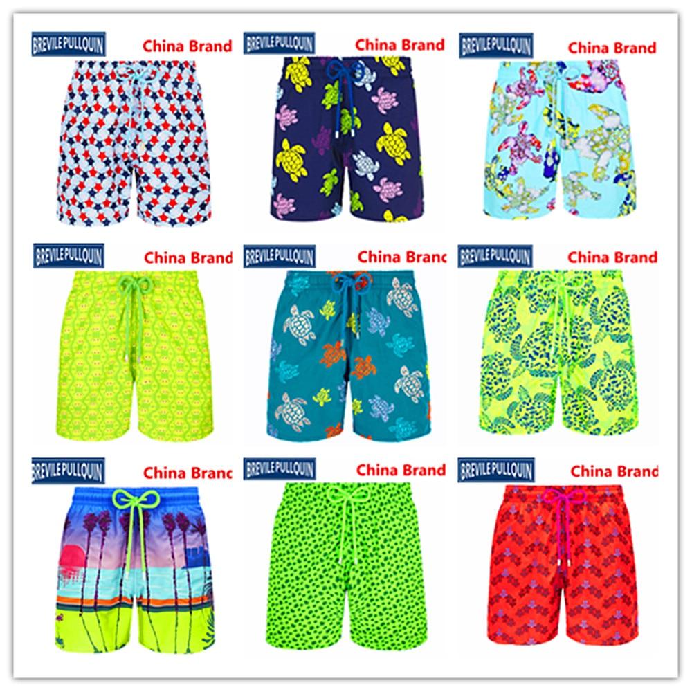 2020 Bermuda Beach Brand Brevile Pullquin Turtles Boardshorts Men Swimwear Adults Crabs Watercolor Bathing Shorts 100% Quick Dry