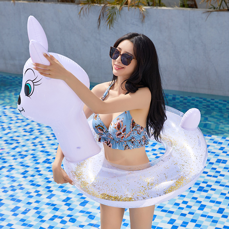 Inflatable Sequins Pool Floats Chinese Zodiac Animal Rabbit Swimming Ring Inflated Transparent Adult Swim Circle Bunny Toys