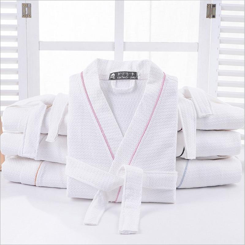100% Cotton Men Solid Color Full Sleeve Sleep Lounge Robes Mens Waffle Long Dressing Gown Kimono Male Bathrobes Men Sleepwear