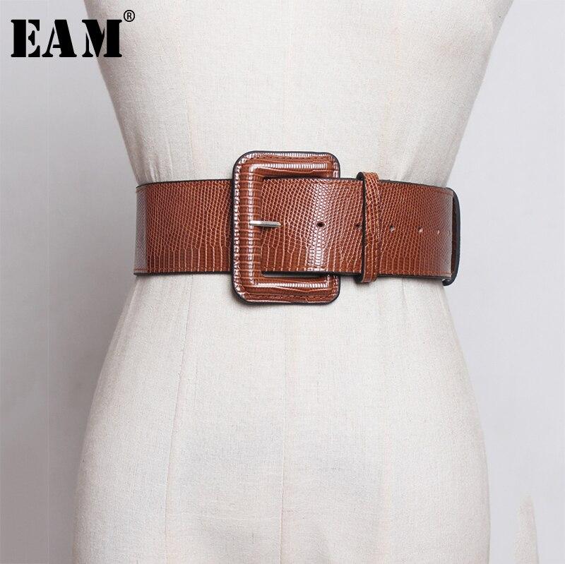 [EAM] Pu pelle grande fibbia quadrata foro cintura larga personalità donna nuova moda marea All-match primavera autunno 2021 1A252