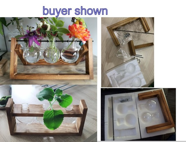 Glass and Wood Vase Planter Terrarium Table Desktop Hydroponics Plant Bonsai Flower Pot Hanging Pots with Wooden Tray Home Decor 6