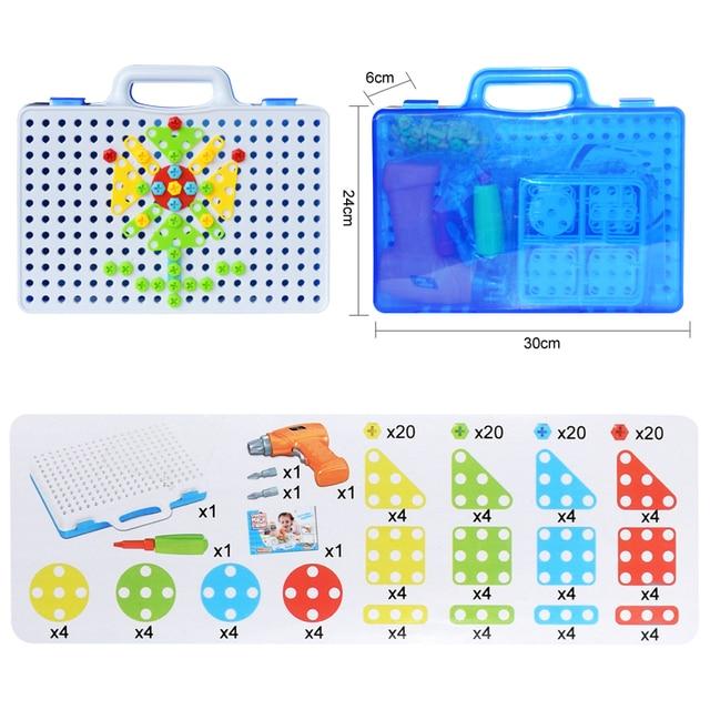 Trapano elettrico per bambini giocattoli dado smontaggio strumento di corrispondenza blocchi assemblati set giocattoli educativi per