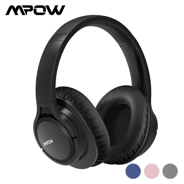 Mpow casque découte Bluetooth haute taille, avec micro et sac de transport pour iPhone/iPad en H7, réduction du bruit stéréo,