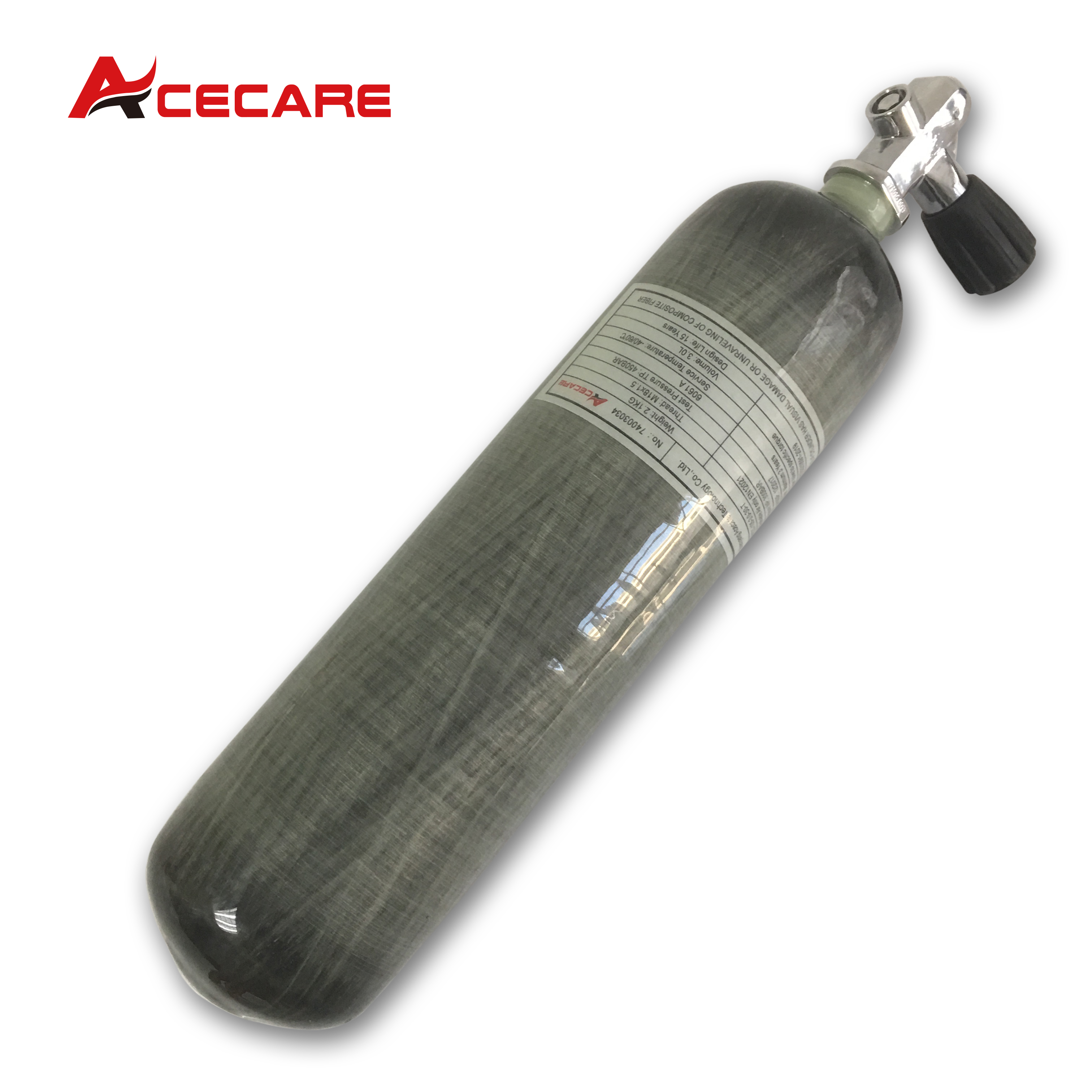 AC10351 Acecare 3L CE 300Bar PCP Paintball Tank Carbon Fiber Cylinder For Shooting/Hunting Airsoft/Air Rifle With Diving Valve