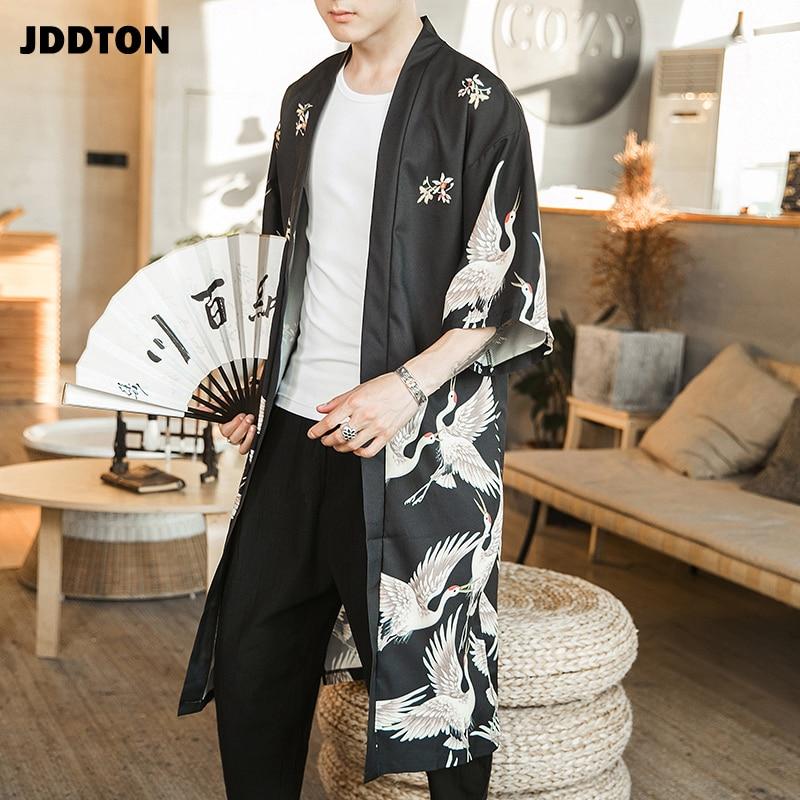 JDDTON Men's Kimono Fashion Jackets Long Cardigan Traditional Japanese Yukata Outerwear Haori Coats Male Casual Overcoats JE007