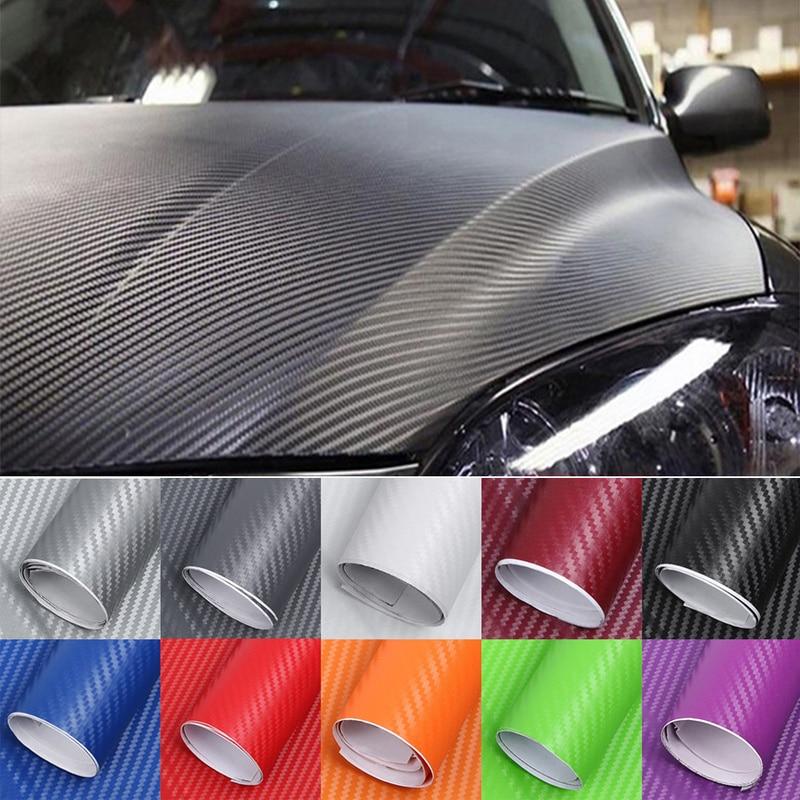 127 см * 10 см Виниловая пленка из углеродного волокна, автомобильные наклейки, водонепроницаемый автомобильный Стайлинг, обертка для автомоб...