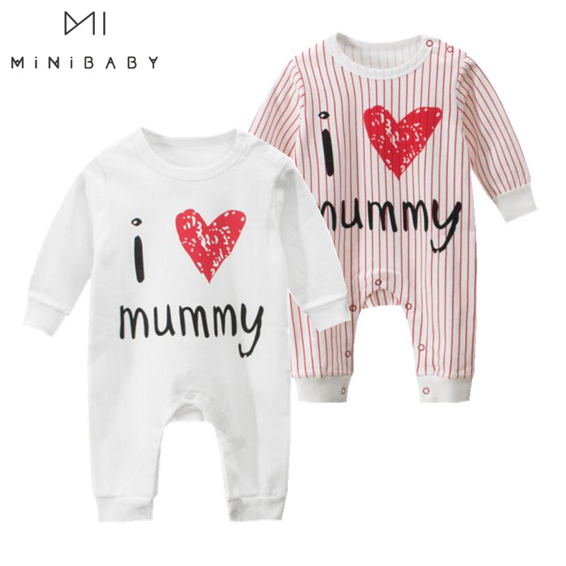 Clearance Sale Brand Baby Clothes Unisex Newborn Girl Romper , Baby Boy Rompers One Piece Cotton Jumpsuit I Love Mummy Pamajas