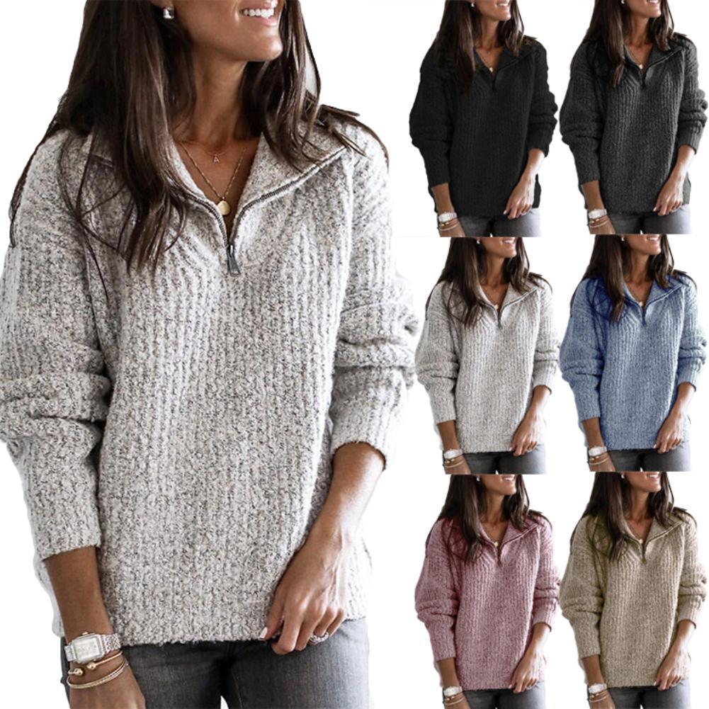 2019 Winter Fleece Sweater Soft Thick Warm Sweater Zipper Pullover Sweater Women Winter