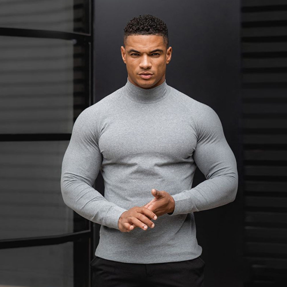 Quick Dry Long Sleeve Shirt Men Gym Fitness T-shirt Male Running Sport Bodybuilding Skinny Tee Tops Spring New Workout Clothing