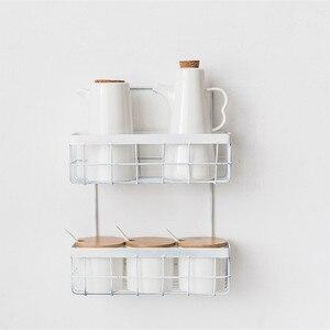 Image 3 - Eisen Lagerung Rack Veranstalter Doppel Schicht Wand Hängen Rack Bad Shampoo Dusche Regal Wand Halter Küche Lagerung Körbe