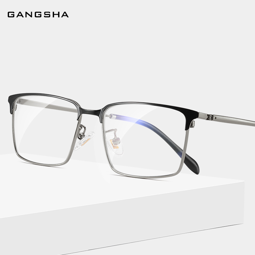 GANGSHA New Men's Titanium Glasses Frame Ultralight Square Clear Glasses Classic Business Eyeglass Frame Male Optical Frame S13