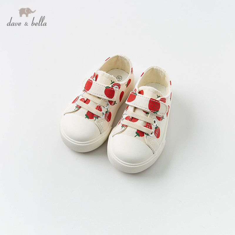DB12876 Dave Bella Spring Baby Girl Canvas Shoes New Born Girl  Casual Print Shoes