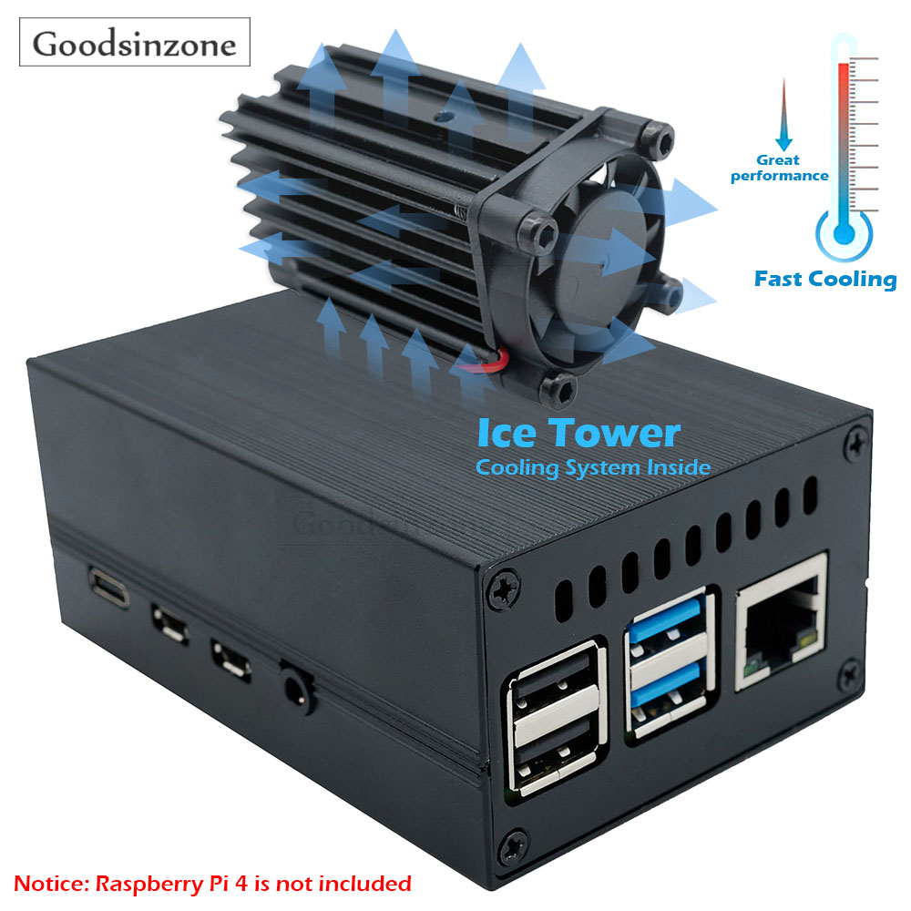 Raspberry Pi 4 Aluminum Case Mini ICE Tower Cooling System with 25mm Quiet Cooling Fan + Heatsink Kit for Raspberry Pi 4 model B