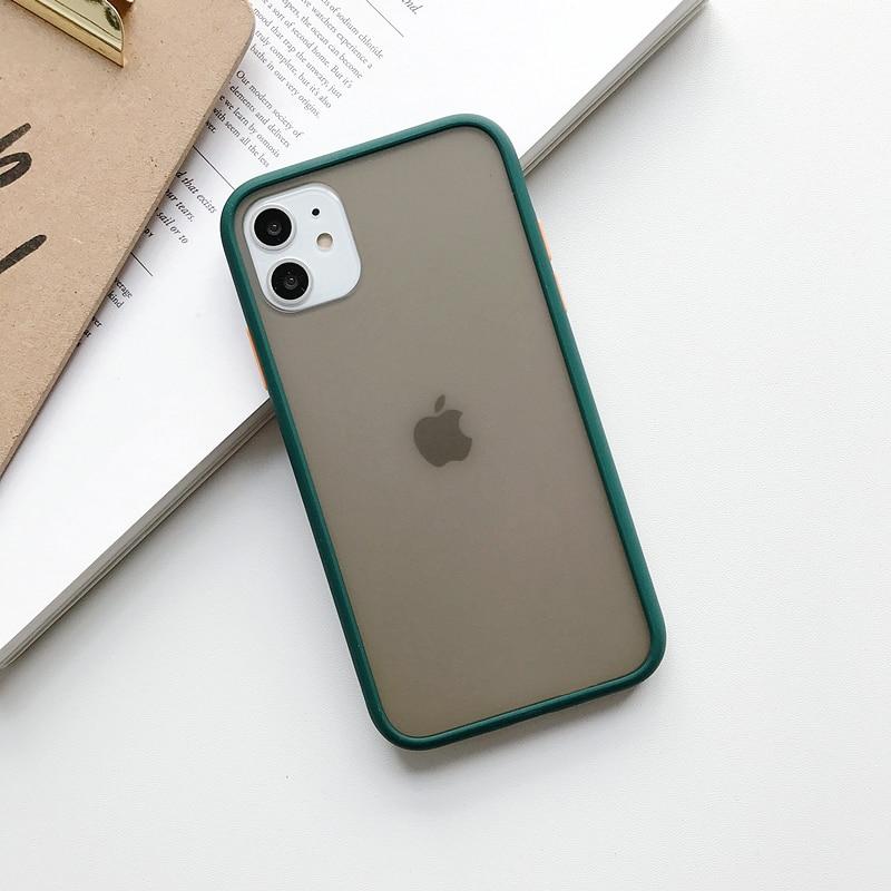 Прозрачный противоударный чехол для телефона для iPhone 11 Pro X XR XS Max 6 6s 7 8 Plus, чехол-бампер, силиконовая матовая прозрачная задняя крышка - Цвет: C
