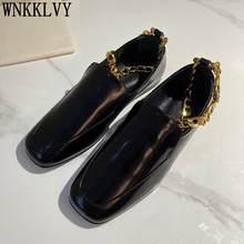 Flat Retro Gold Chain Grandma Shoes Women Square Toe Real Leather Fashion Loafers Female Spring Comfort Vacation Casual Shoes