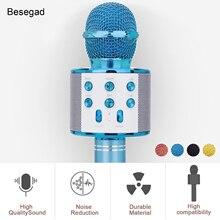 Besegad אלחוטי Bluetooth קריוקי מיקרופון 3 in1 כף יד קריוקי מיקרופון רמקול עבור מוסיקה משחק בית KTV שירה נגן