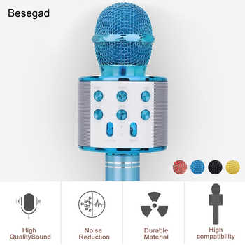 Besegad sem fio bluetooth karaoke microfone 3 in1 handheld karaoke mic alto-falante para a música que joga em casa ktv jogador de canto