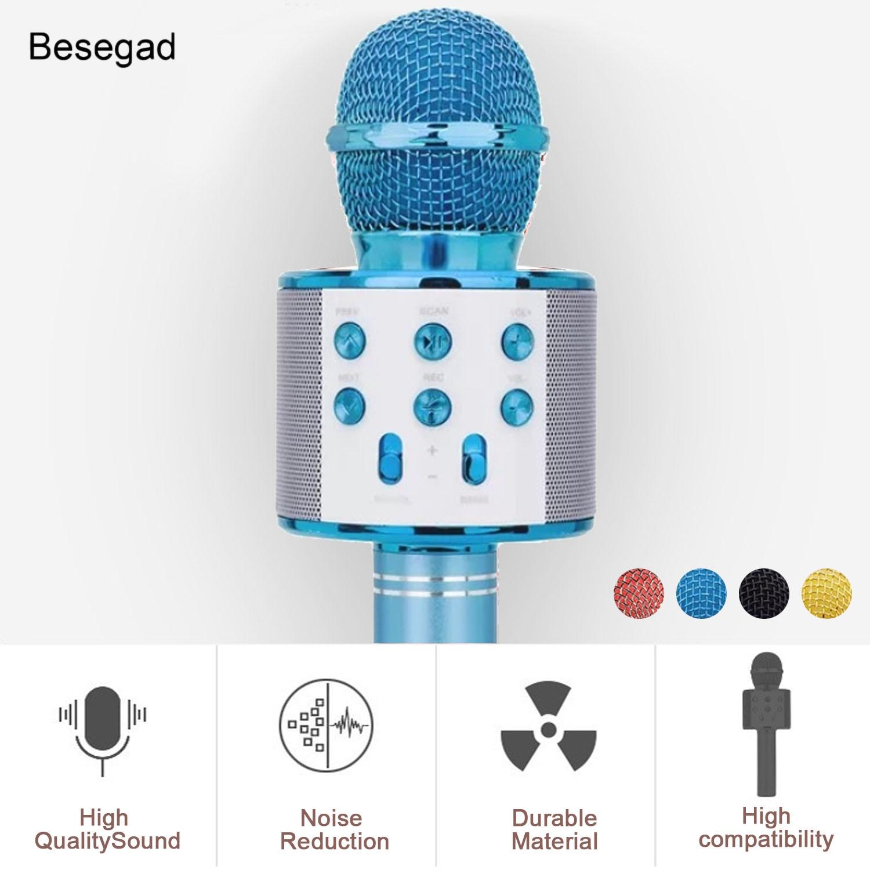 Micrófono de Karaoke inalámbrico Bluetooth 3 en 1 de Besegad, altavoz de micrófono de Karaoke portátil para reproducir música en casa, reproductor de canto KTV