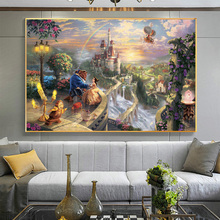 Beauty And The Beast Dancing Calssic Fairy Tale Poster Prints Canvas Wall Art Cartoon Movie Painting Decor Picture For Room
