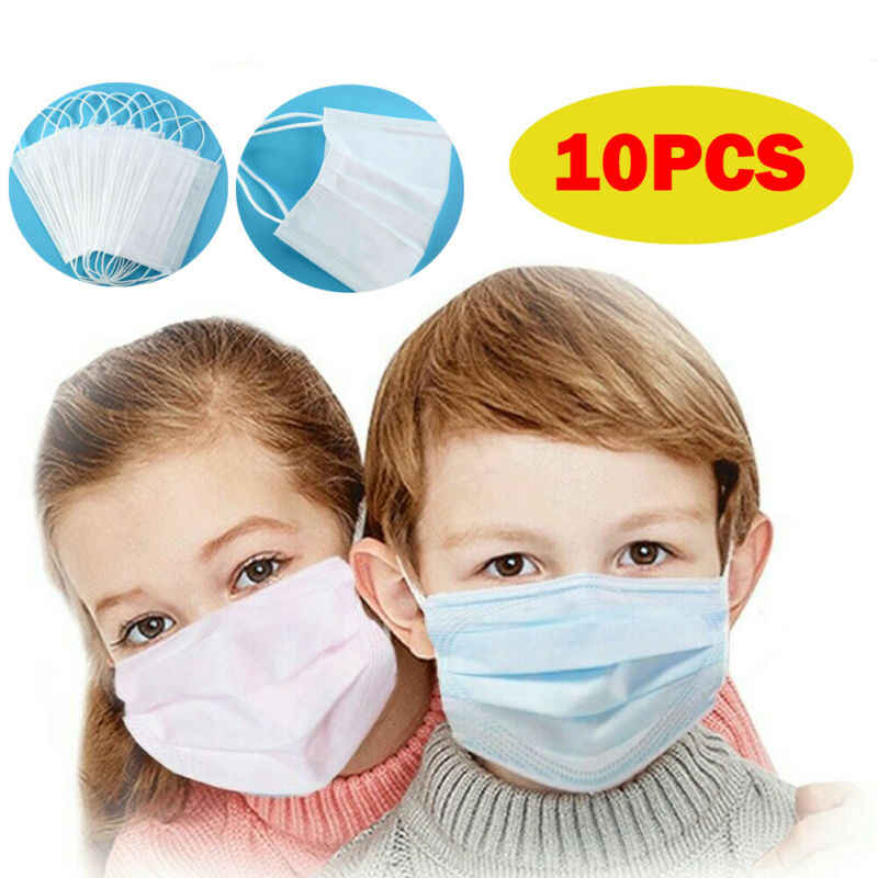 10Pcs kids mask disposable Three-Layers Kids Baby mouth mask Anti Dust Mask Mouth Face Cover Protect for Child White wholesale