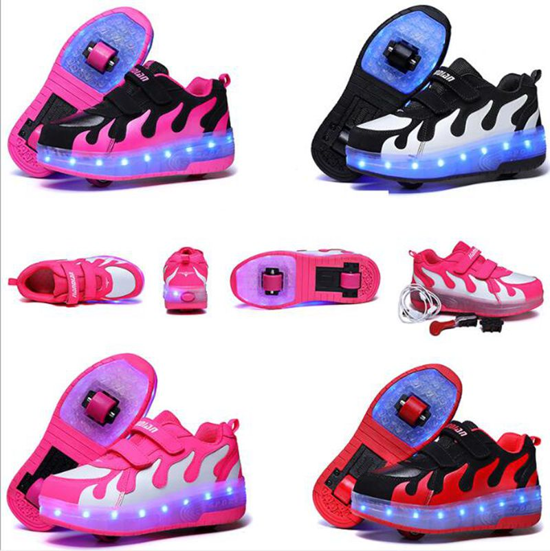 LED Heelys Light Sneakers With Double TWO Wheel Boy Girl Roller Skate Casual Shoe With Roller Girl Zapatillas Zapatos Con Ruedas