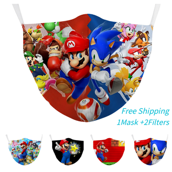Free Shipping Super Maria Seven dragonballs 3D Printed Face Fabric Masks PM2.5 Filter Printing mouth Mask washable respiratory image