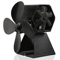 موقد شتوي أسود 2020 4 شفرات يعمل بالطاقة الحرارية موقد مروحة سجل الخشب الموقد صديقة للبيئة مروحة هادئة كفاءة توزيع الحرارة