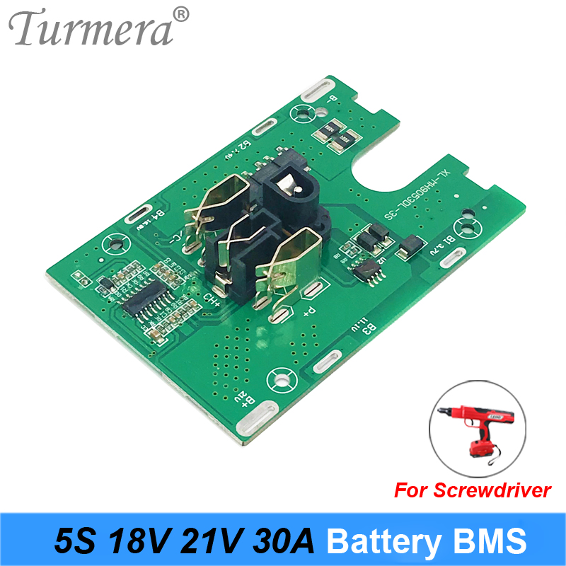 Turmera 5S 18V 21V 30A Li-ion Lithium Battery BMS 18650 battery screwdriver shura Charger Protection Board fit for dewalt 21V image