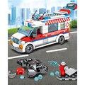 Блок Sembo 238 шт.  совместимая городская машина скорой помощи  игрушка  аварийные строительные блоки  наборы кирпичей  DIY  детские развивающие и...