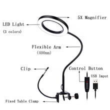 цена на Flexible Table Clamp Illuminated Repairing Helping Magnifier Soldering Iron Holder 5X Desk Clip Magnifying Glass with LED Light