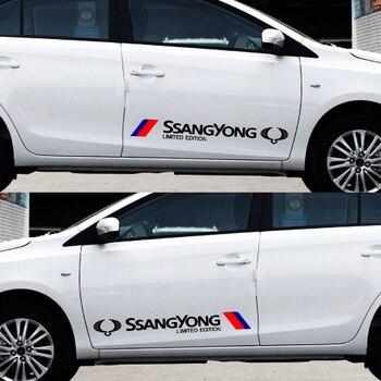 2pcs High Quality Car Body Sticker Car Badge Door Sticker for SsangYong Actyon Turismo Ssang Yong Rodius Rexton Korando Kyron oem 1621533028 for ssangyong rexton stavic rodius crankshaft position sensor 1621533028