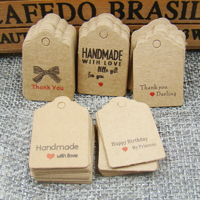 1000 pièces pétoncle kraft fait à la main avec amour étiquette papier merci cadeau étiquette pour mariage/bonbons/bébé cadeaux produits étiquette de marquage